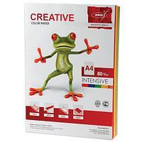 Бумага CREATIVE color (Креатив) А4, 80г/м, 100 л (5 цв.х20л.) цветная интенсив, БИpr-100r