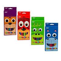 Карандаши цветные пластиковые 12цв Yalong шестигранные европодвес картонная коробка ассотри