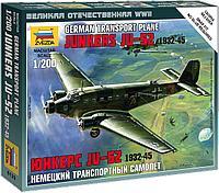 Звезда Сборная модель Немецкий транспортный самолет Юнкерс Ju-52 1932-1945, цвет серый