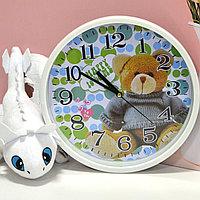 Настенные часы круглые диаметр 25 см Classic bear M5188A белые с медведем
