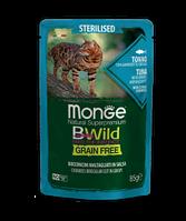 2799 Monge BWild GF Sterilized, влажный корм для кошек, тунец с креветками и овощами, пауч 85гр.
