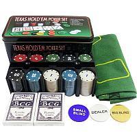 Покерный набор Texas Holdem на 200 фишек с номиналом в мет. коробке