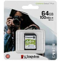 Карта памяти SD, Kingston Canvas Select Plus, 64GB, SDS2-64GB, UHS-I, R100, V10