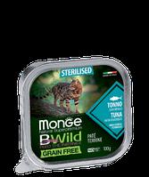 2898 Monge BWild GF Sterilized, влажный корм для кошек, паштет из тунца с овощами, уп.32*100гр.