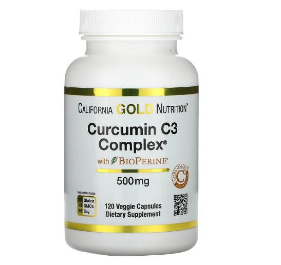 California Gold Nutrition, Curcumin C3 Complex с экстрактом BioPerine, 500 мг, 120 растительных капсул