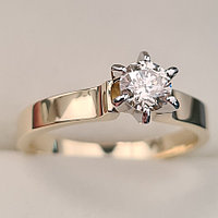 Золотое кольцо с бриллиантами 0,30Сt SI2/K EX-Cut