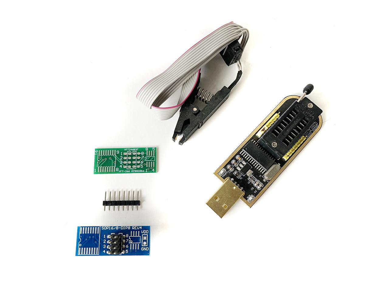 Программатор CH341A, USB, поддержка микросхем SOIC8, SOP8, EEPROM серий 93Сxx, 25Cxx, 24Cxx
