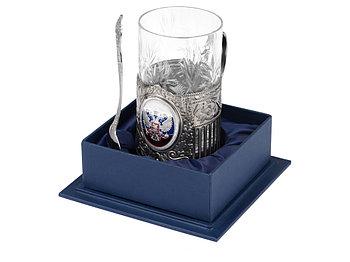Подстаканник с хрустальным стаканом и ложкой РОССИЙСКИЙ-М, серебристый/прозрачный