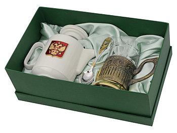 Чайный набор с подстаканником и фарфоровым чайником ЭГОИСТ-Л, золотистый/белый