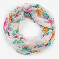Палантин-труба женский текстильный, цвет белый/цветы, размер 70х80