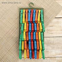 Набор прищепок бельевых на подвеске «Кубаночка», 8 см, 45 шт, цвет МИКС