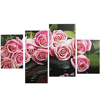"""Картина модульная на подрамнике """"Нежные розы"""" 2-30х45; 1-29,5х69; 1-34х69, 80*130 см"""
