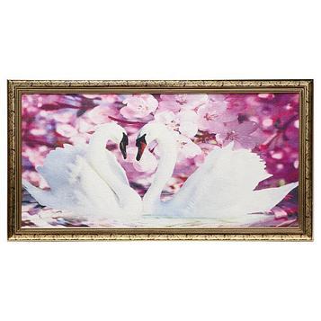 """Гобеленовая картина """"Лебеди"""" 45*83 см рамка микс"""