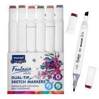 Маркеры для скетчинга двусторонние Mazari Fantasia White, 6 цветов, Wood colors (оттенки дерева)