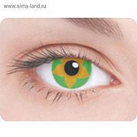 Карнавальные контактные линзы Adria Crazy - Зеленый цветок, в наборе 1шт
