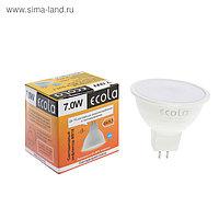 Лампа светодиодная Ecola, MR16, 7 Вт, GU5.3, 4200 K, 48x50 мм, матовое стекло