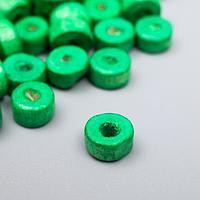 """Бусины для творчества дерево """"Плоские круглые зелёные"""" набор 20 гр 0,6х0,3 см"""