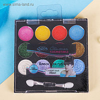 Набор косметики для девочки: тени, 4,6 г + тени с блёстками, 4,6 г + блеск для губ 4,6 г + аппликатор