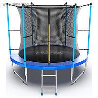 Батут EVO JUMP Internal, d=244 см, с внутренней защитной сеткой и лестницей, цвет синий