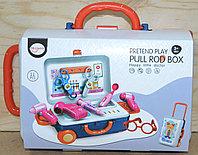 Нет одного колеса!!! 678-117A Мед набор Pretend Play Pull Rod Box в чемодане на колесах 11 предметов 25*22, фото 1
