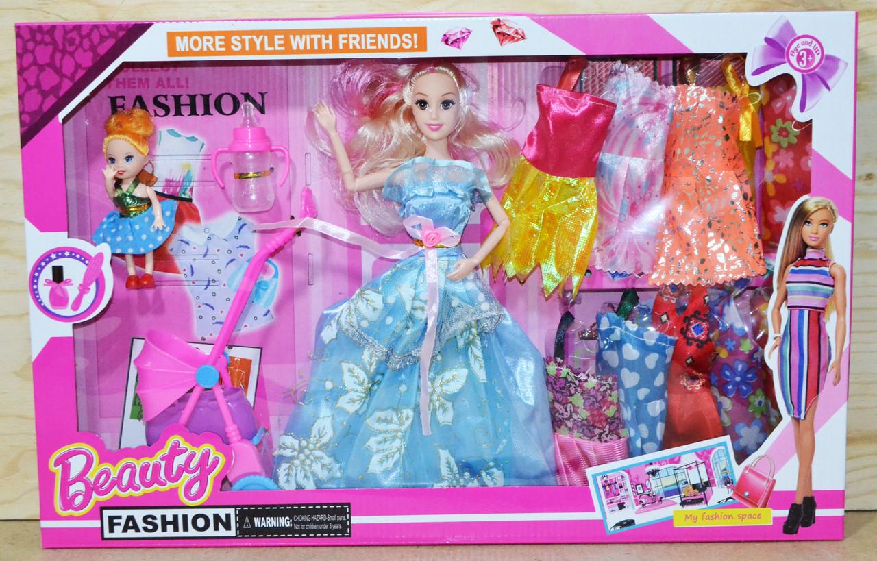 Упаковка повреждена!!!1994 Кукла Beauty c коляской и бутылочкой 10 платьев 50*32