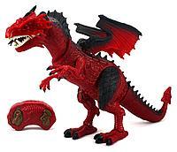 Упаковка помята!!! RS 6159 Дракон красный на р/у (движение,дымит,свет,звук) нет крышки бочка с водой  53*31см, фото 1