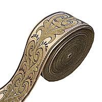 Лента декоративная жаккардовая с орнаментами 130 мм, #1366 бронзовый