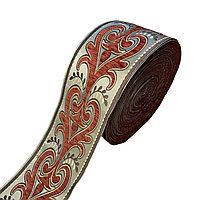 Лента декоративная жаккардовая с орнаментами 130 мм, #1366 минтол-бордо