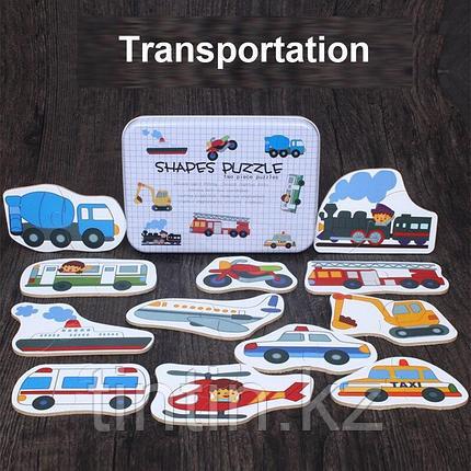 """Пазлы """"Транспорт"""" из двух частей в железной банке, фото 2"""