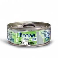 7009 MONGE CAT JELLY, тунец в желе с сурими, влажный корм для кошек, уп.24*80 гр.