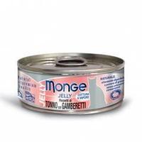 7023 MONGE CAT JELLY, тунец в желе с креветками, влажный корм для кошек, уп.24*80 гр.