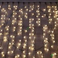 """Гирлянда """"Дождь"""" - 3х3 метра, 600 лампочек, тёплый-белый свет свечения, водонепроницаемая, морозостойкая"""