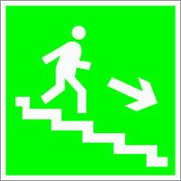 Табличка Направление к эвакуационному выходу вниз по лестнице