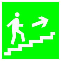 Табличка Направление к эвакуационному выходу по лестнице вверх