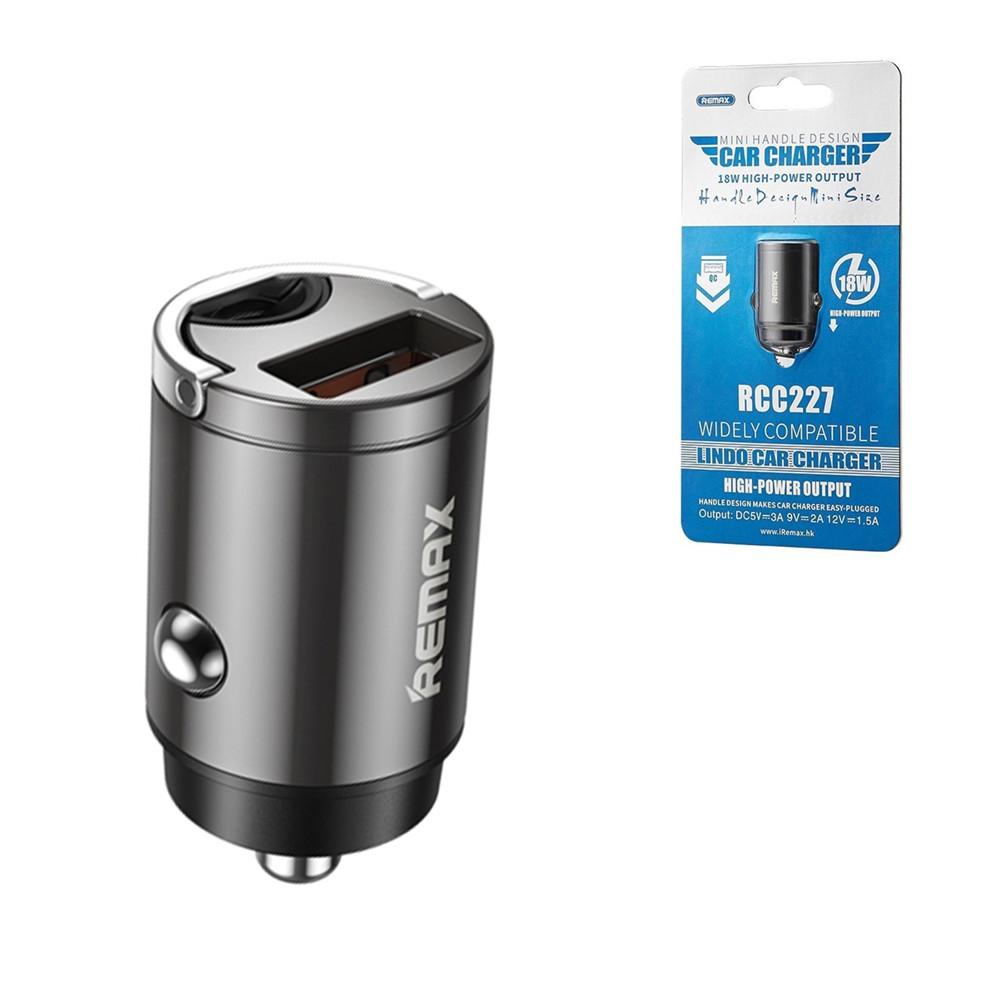 Автомобильное зарядное устройство Remax RCC227 Mini Handle Densing, QC3.0, 18W, 1XUSB, Black