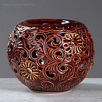 """Ваза настольная """"Шар"""", коричневая, резка, 17 см, керамика"""