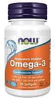Now Foods, омега-3, 1000 мг очищенная на молекулярном уровне, 30 капсул