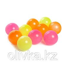 Шарики для сухого бассейна с рисунком «Флуоресцентные», диаметр шара 7,5 см, набор 30 штук, цвет оранжевый,