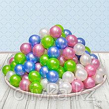 Шарики для сухого бассейна «Перламутровые», диаметр шара 7,5 см, набор 50 штук, цвет розовый, голубой, белый,