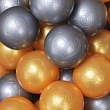 Шарики для сухого бассейна с рисунком, диаметр шара 7,5 см, набор 50 штук, цвет металлик, фото 2