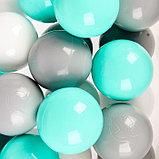 Шарики для сухого бассейна с рисунком, диаметр шара 7,5 см, набор 60 штук, цвет бирюзовый, белый, серый, фото 2
