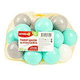 Шарики для сухого бассейна с рисунком, диаметр шара 7,5 см, набор 60 штук, цвет бирюзовый, белый, серый, фото 4