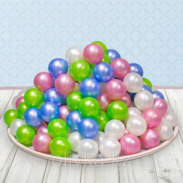 Шарики для сухого бассейна «Перламутровые», диаметр шара 7,5 см, набор 100 штук, цвет розовый, голубой, белый,