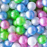 Шарики для сухого бассейна «Перламутровые», диаметр шара 7,5 см, набор 100 штук, цвет розовый, голубой, белый,, фото 2