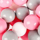 Шарики для сухого бассейна с рисунком, диаметр шара 7,5 см, набор 150 штук, цвет розовый, белый, серый, фото 2