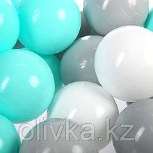 Шарики для сухого бассейна с рисунком, диаметр шара 7,5 см, набор 150 штук, цвет бирюзовый, серый , белый