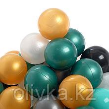 Набор шаров для сухого бассейна 150 штук (бирюзовый, серебро, зеленый металлик, золотой, белый перламутр,
