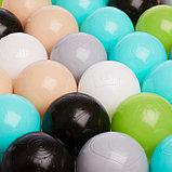 Набор шаров 150 шт, цвета: бирюзовый, серый, белый, чёрный, салатовый, бежевый, диаметр 7,5 см, фото 2