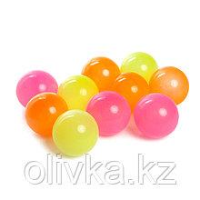 Шарики для сухого бассейна с рисунком «Флуоресцентные», диаметр шара 7,5 см, набор 150 штук, цвета: оранжевый,