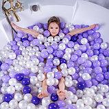 Шарики для сухого бассейна с рисунком, диаметр шара 7,5 см, набор 150 штук, цвет сиреневый, фото 2
